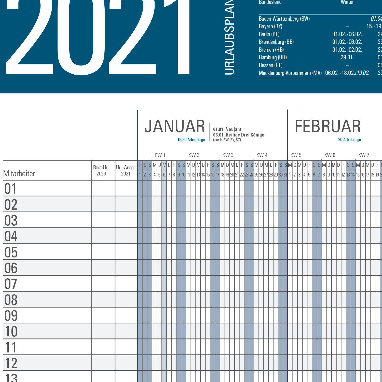 XXL Urlaubsplaner 2021 großer Personalplaner Dienstplaner ...