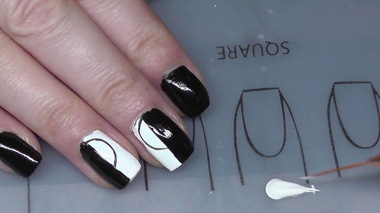 schwarz weißes Fullcover Nageldesign | Nageldesign, Nail ...