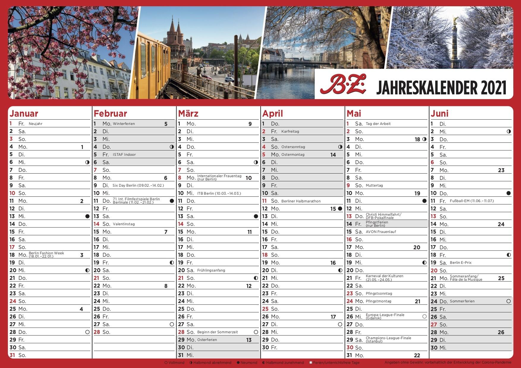 Kalender 2021 Zum Ausdrucken Kostenlos Mit Ferien ...
