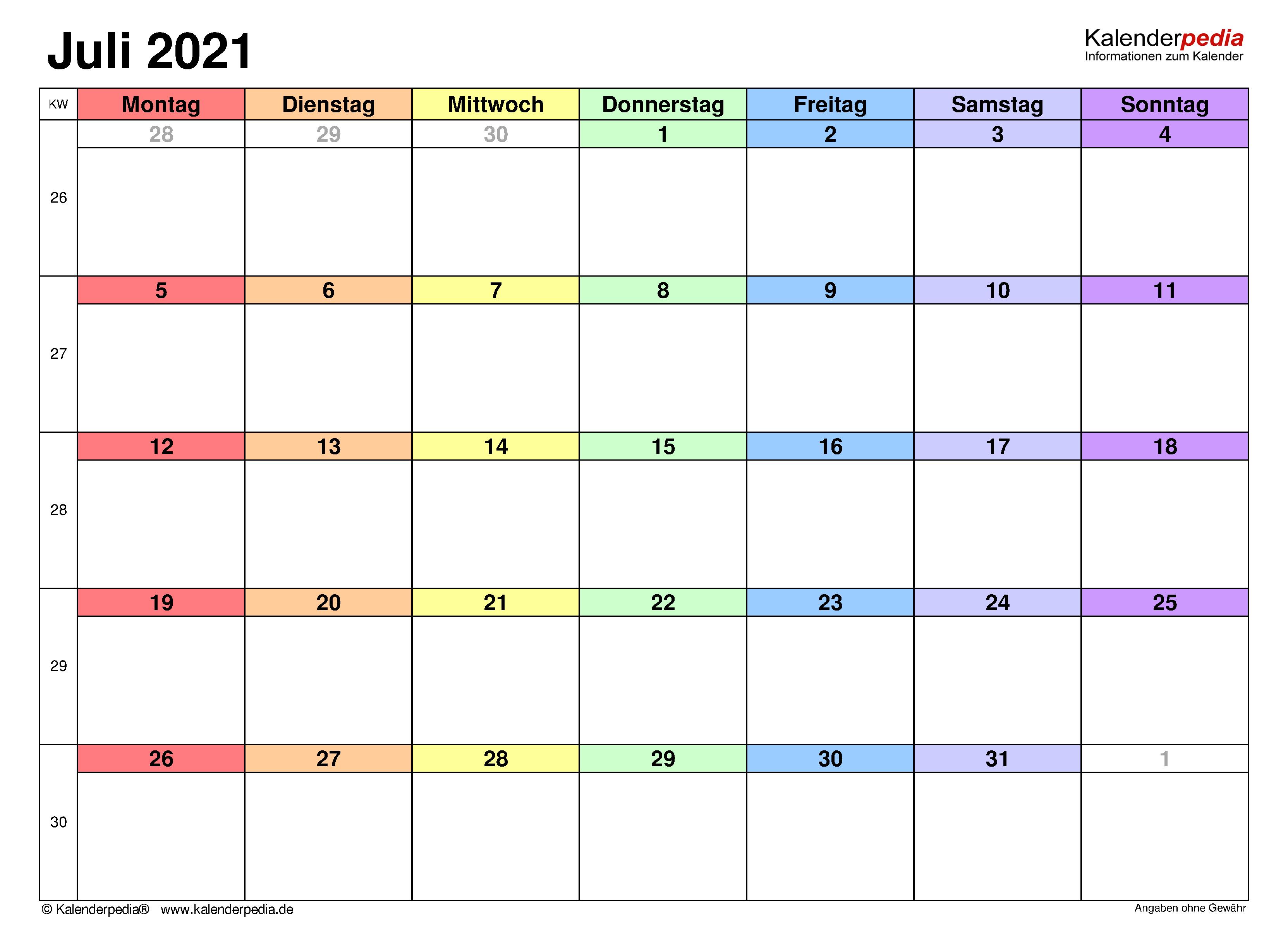 Kalender Juli 2021 als Word-Vorlagen