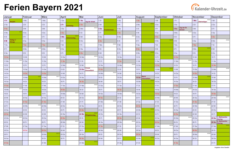Ferien Bayern 2021 - Ferienkalender zum Ausdrucken
