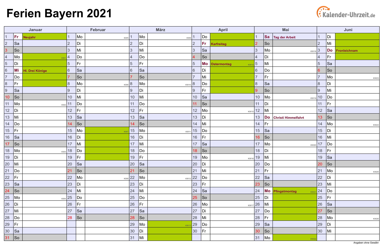 Kalender 2021 Din A4 Querformat Zum Ausdrucken - EXCEL ...