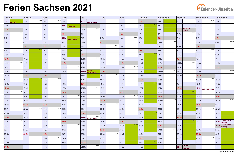 Ferien Sachsen 2021 - Ferienkalender zum Ausdrucken