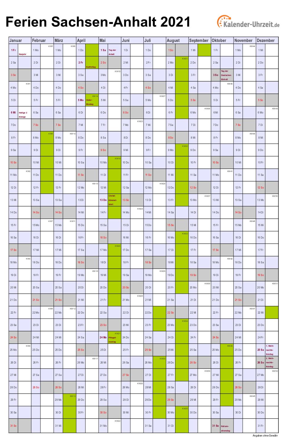 Ferien Sachsen-Anhalt 2021 - Ferienkalender zum Ausdrucken