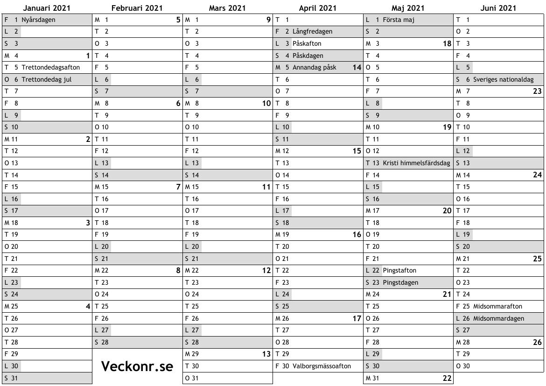 Kalender för 2021 med helgdagar och veckonummer … online ...