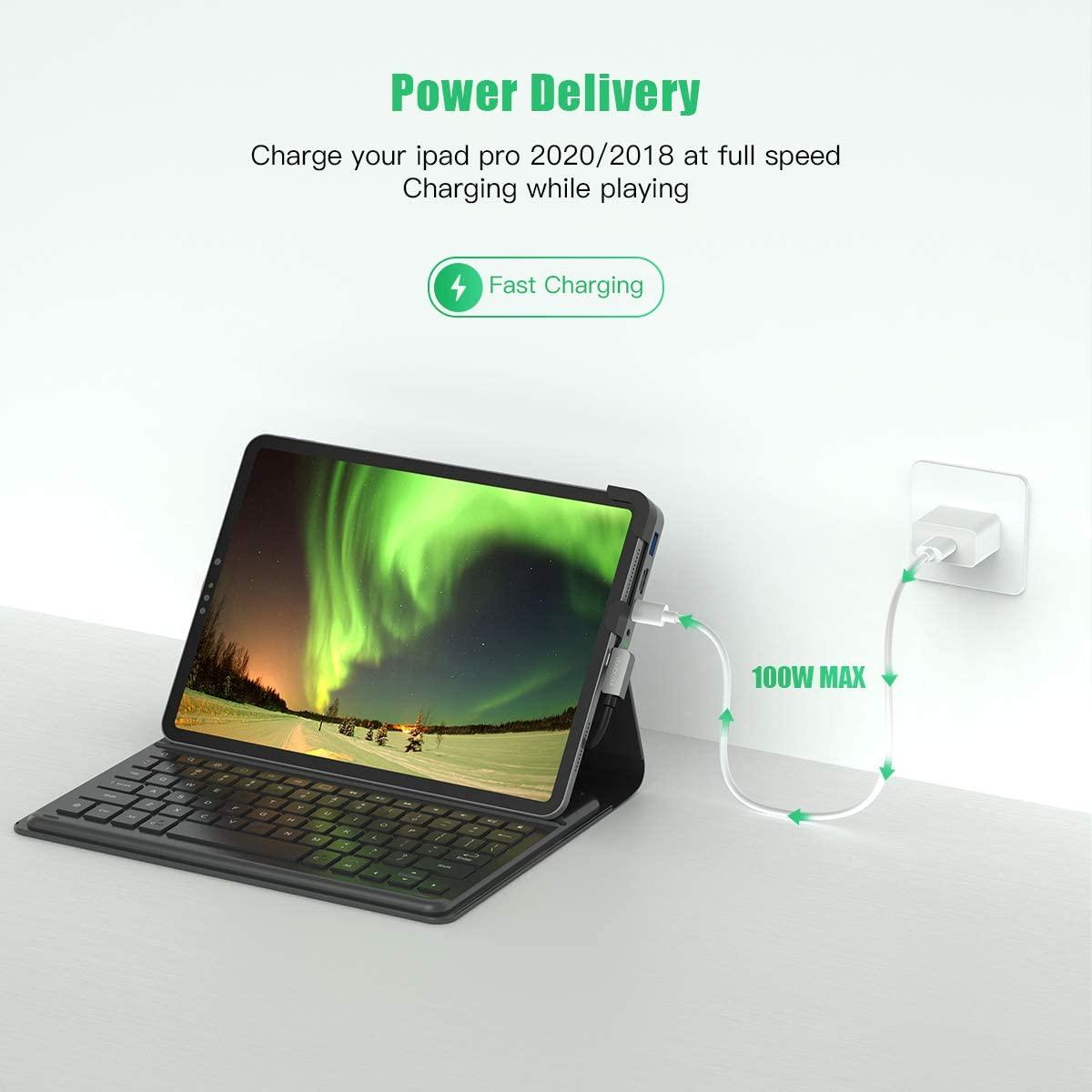 USB C Hub for iPad Pro 2020/2018, 6in1 USB Tpye C to 4K ...