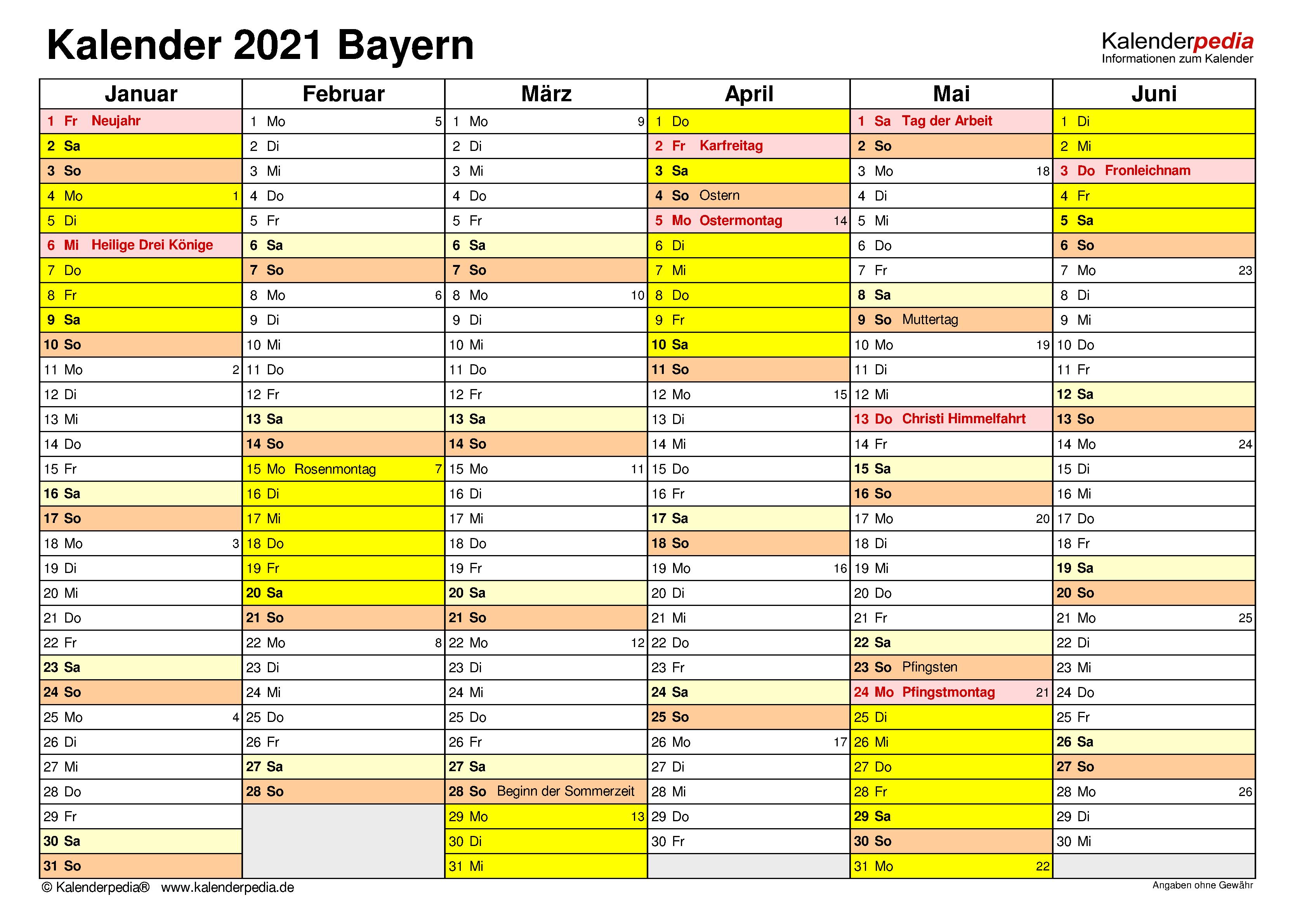 Kalender 2021 Bayern: Ferien, Feiertage, Excel-Vorlagen