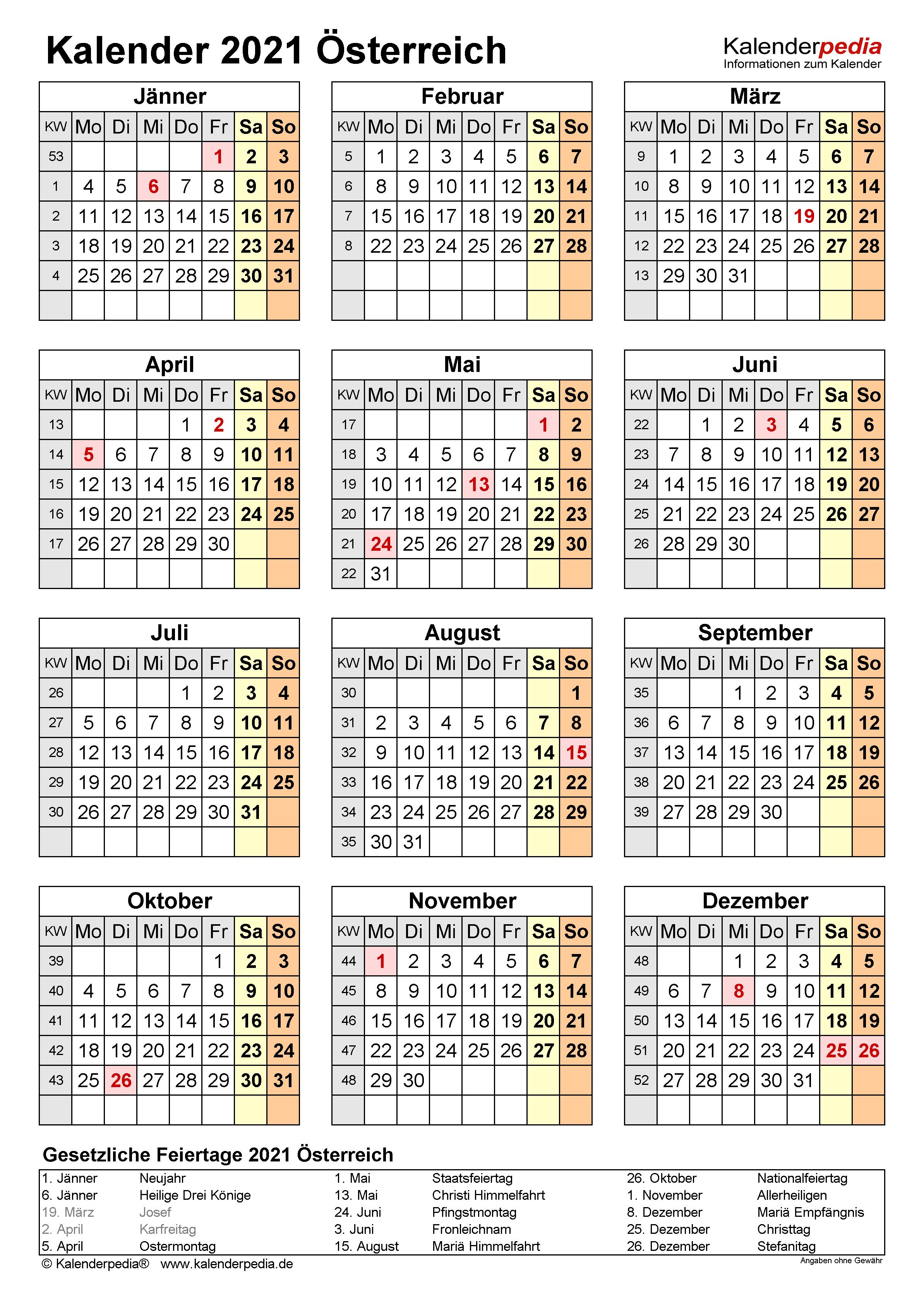 Kalender 2021 Mit Kalenderwochen Pdf
