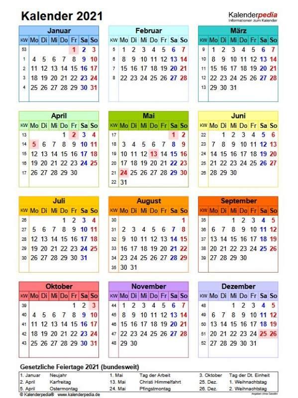 Kalender 2021 Deutsch