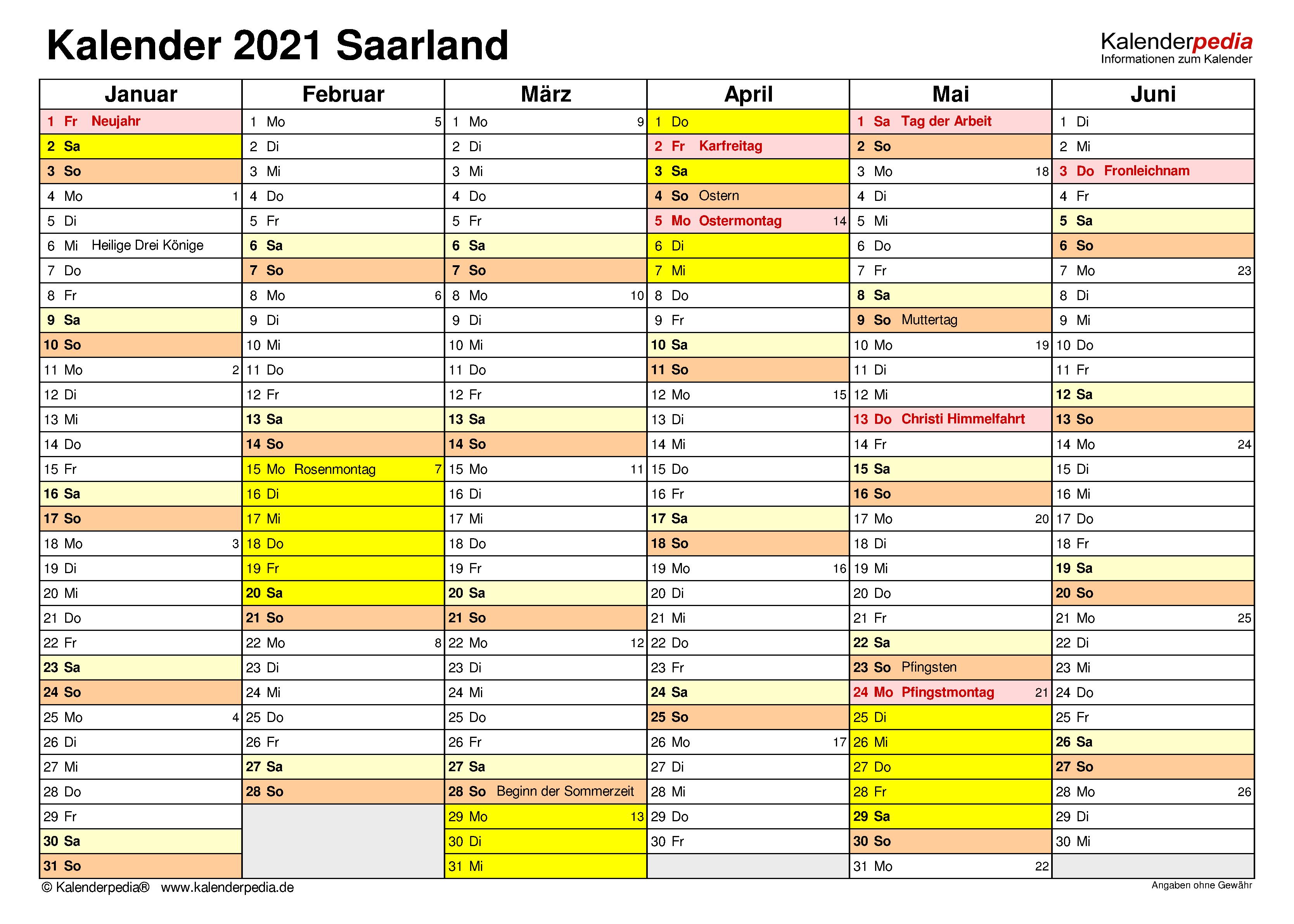 Kalender 2021 Saarland: Ferien, Feiertage, PDF-Vorlagen