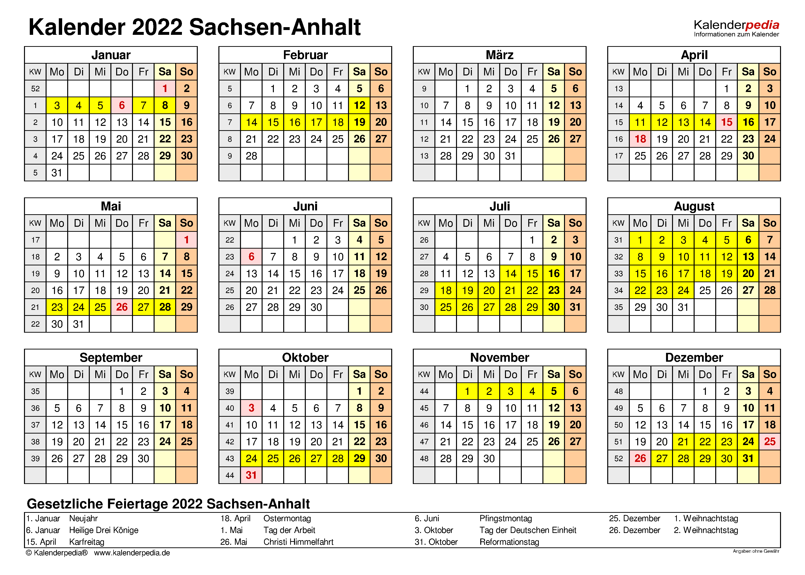 Kalender 2022 Sachsen-Anhalt: Ferien, Feiertage, Word-Vorlagen