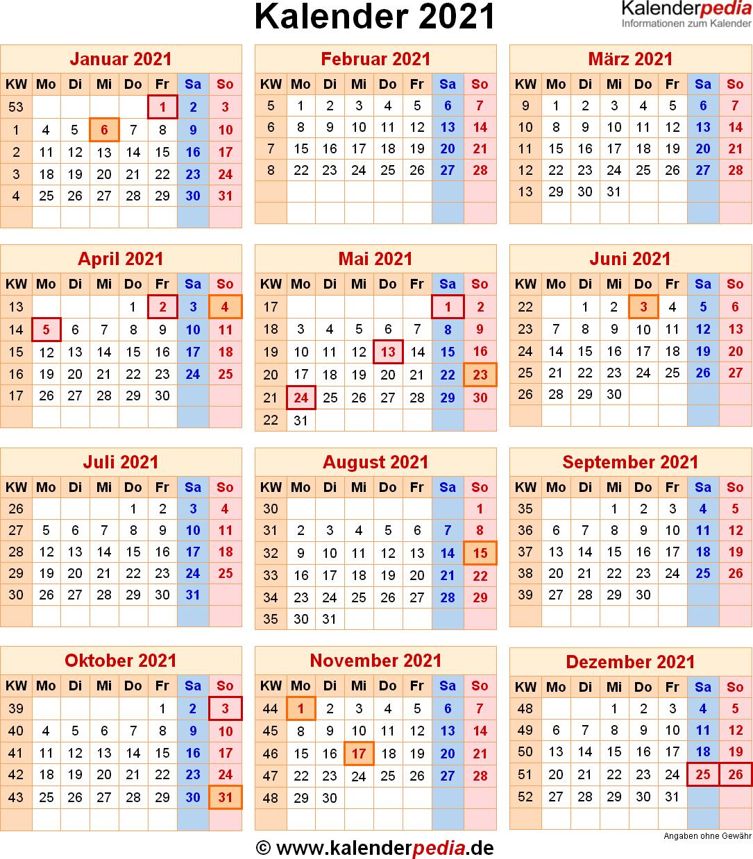 Kalender 2021 mit Excel/PDF/Word-Vorlagen, Feiertagen ...