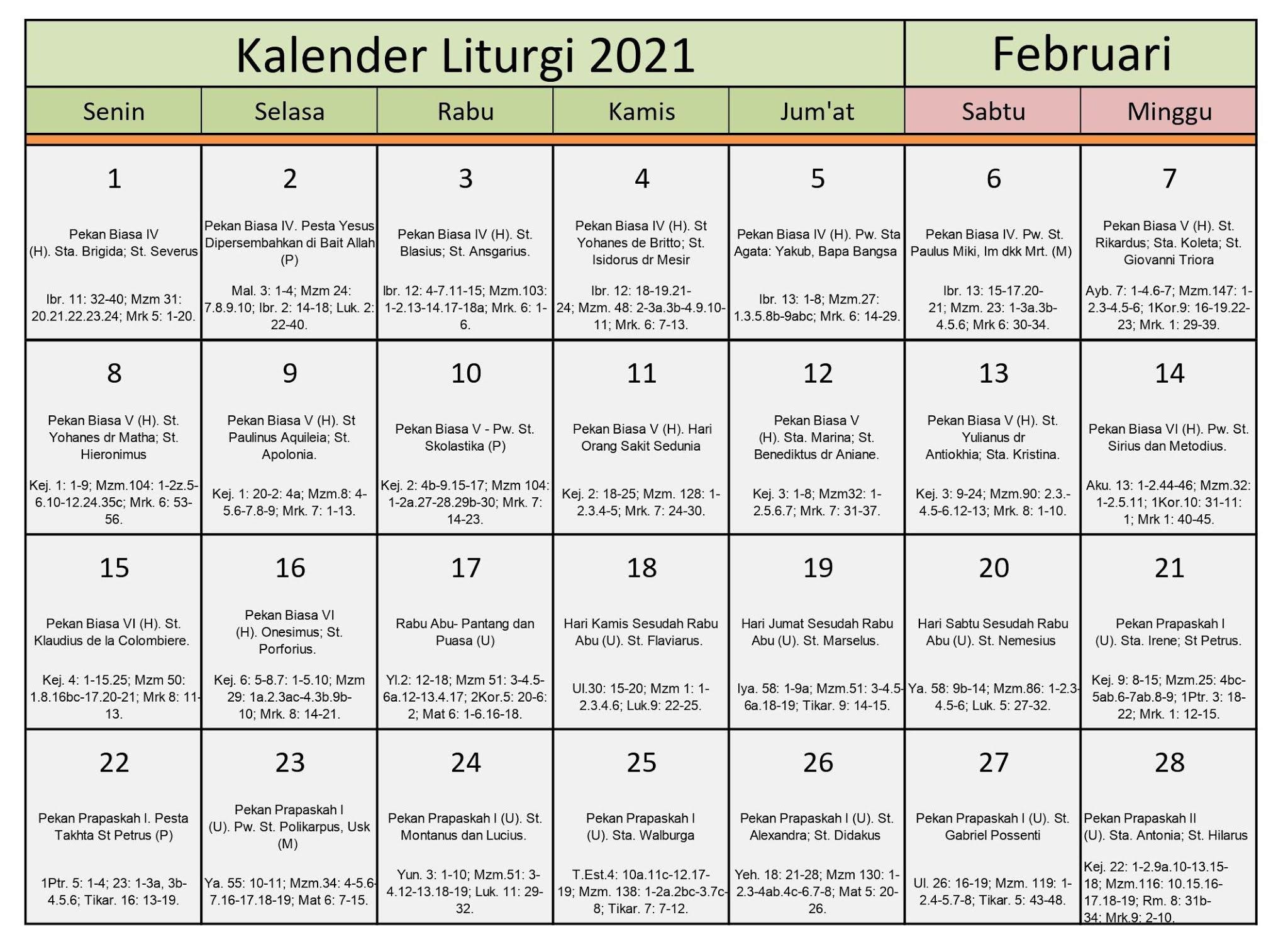 Download Kalender Liturgi Februari 2021 Tahun B/1 PDF ...