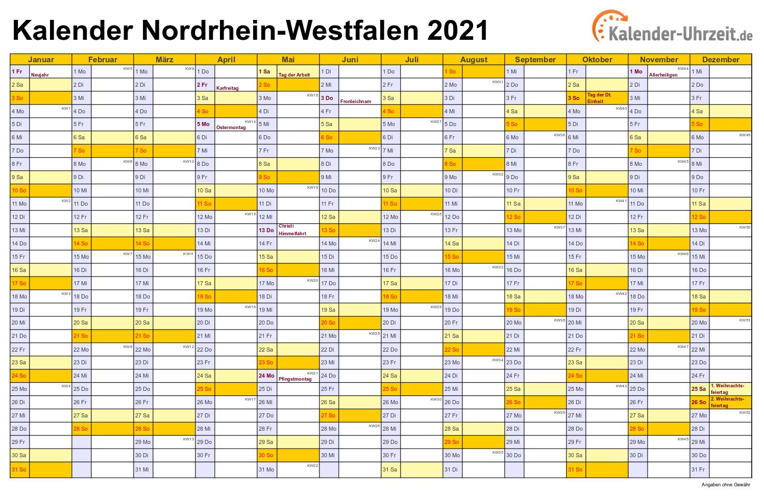 Feiertage 2021 Nordrhein-Westfalen + Kalender