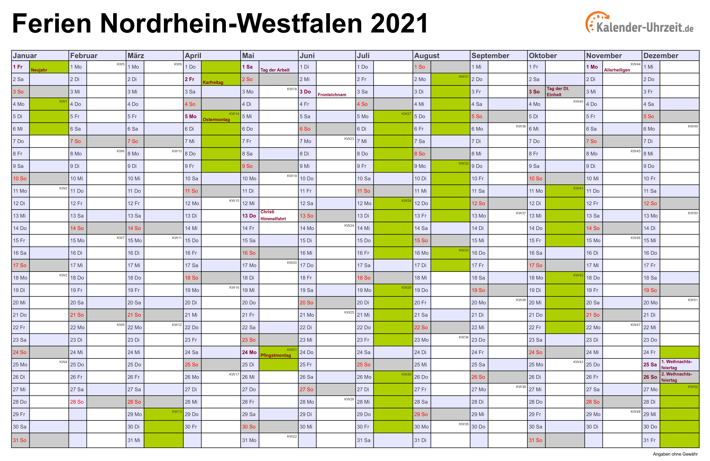 Ferien 2021 - Markische Grundschule Staatliche Europa ...