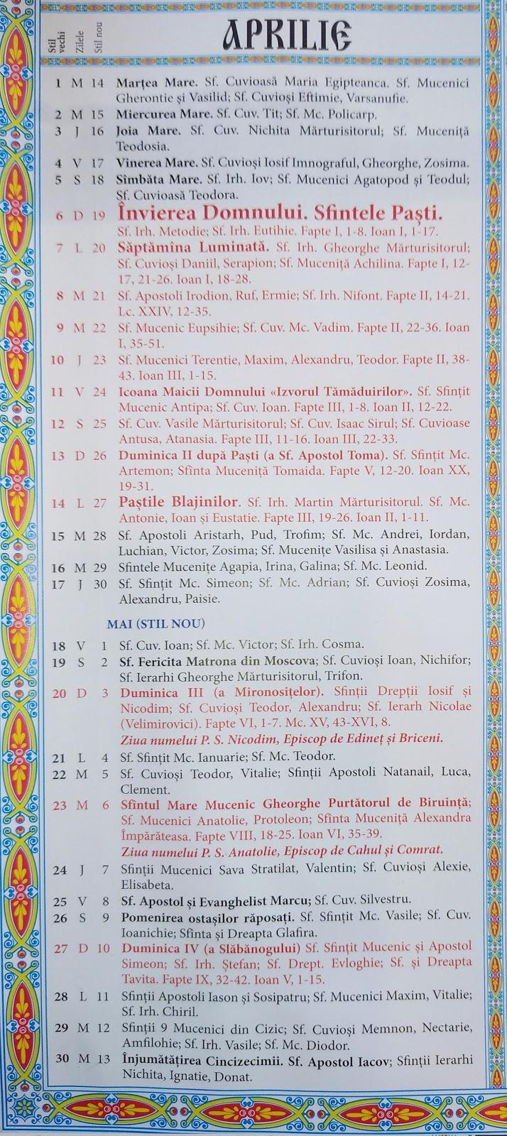 Calendar Ortodox 2021-2022 Moldova : Calendar Crestin ...