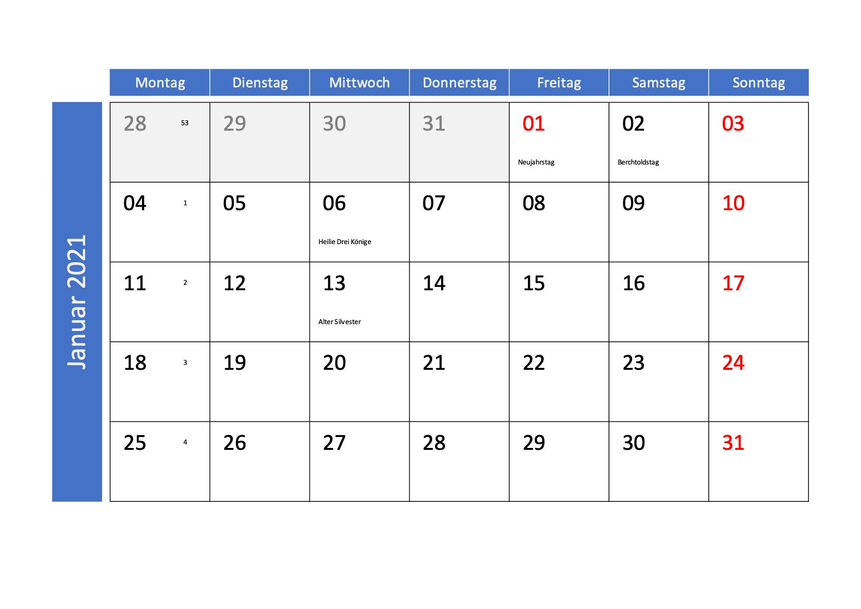 Monatskalender 2021 mit Kalenderwochen und CH-Feiertagen ...