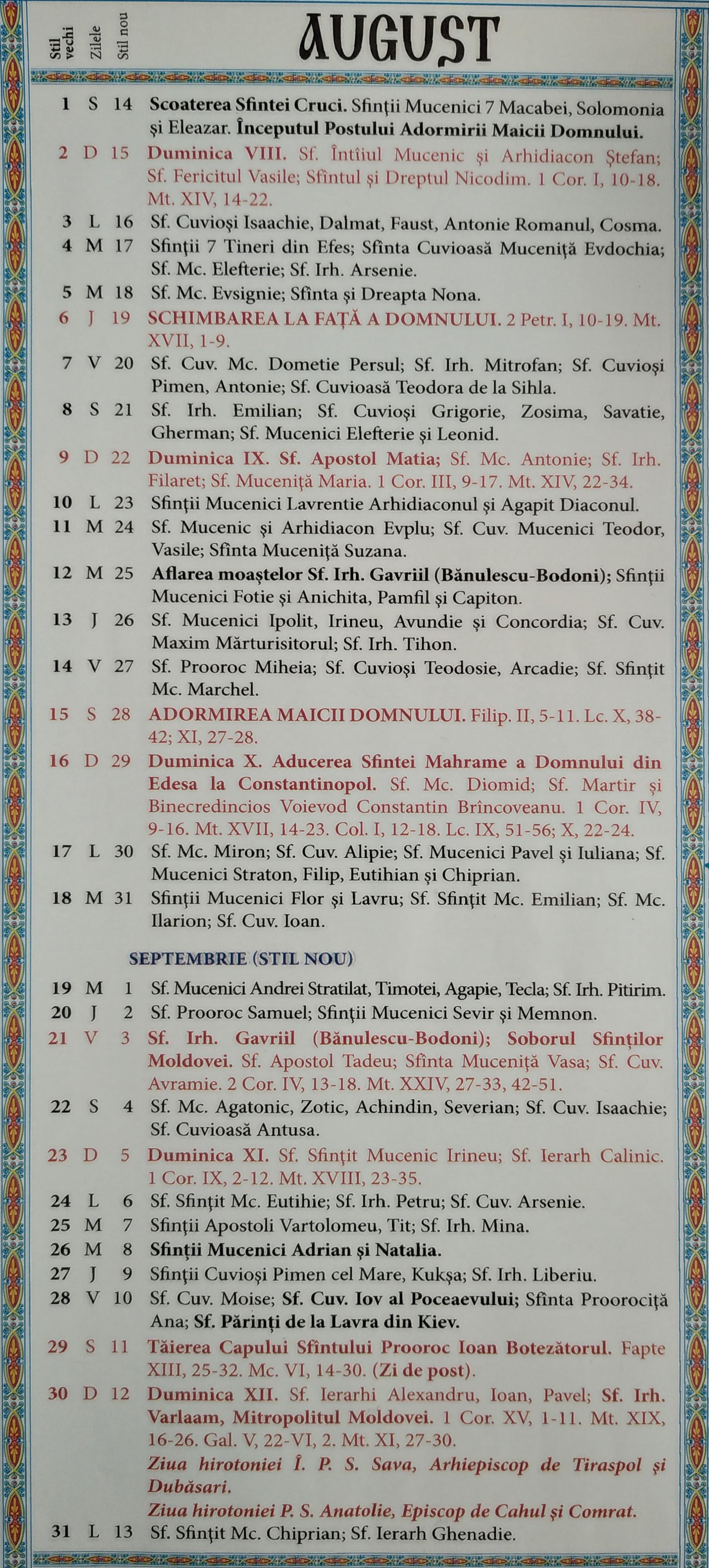 Calendar Ortodox 2021-2022 Moldova