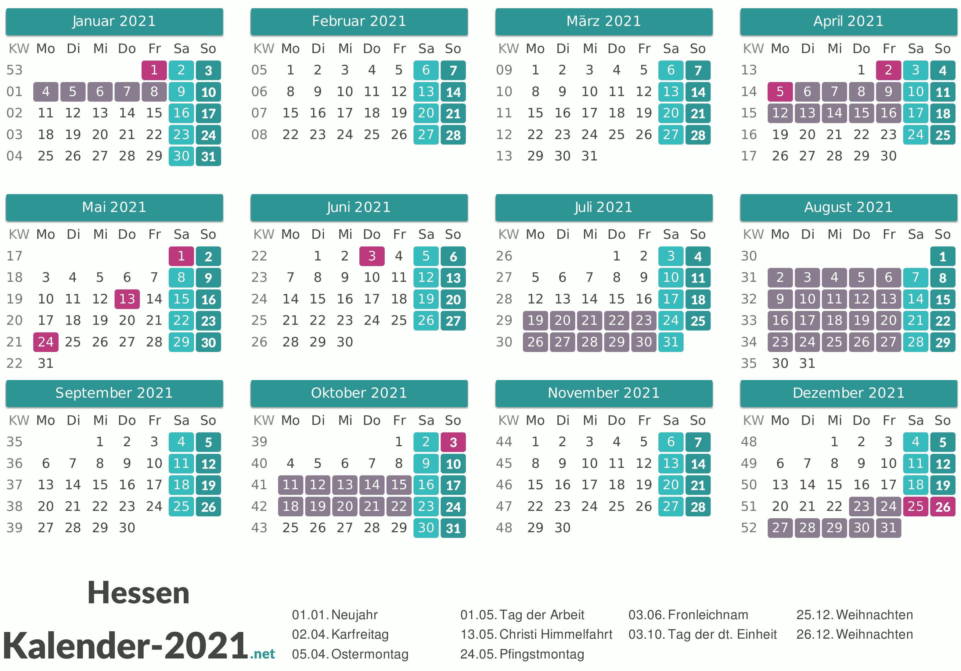 FERIEN Hessen 2021 - Ferienkalender & Übersicht