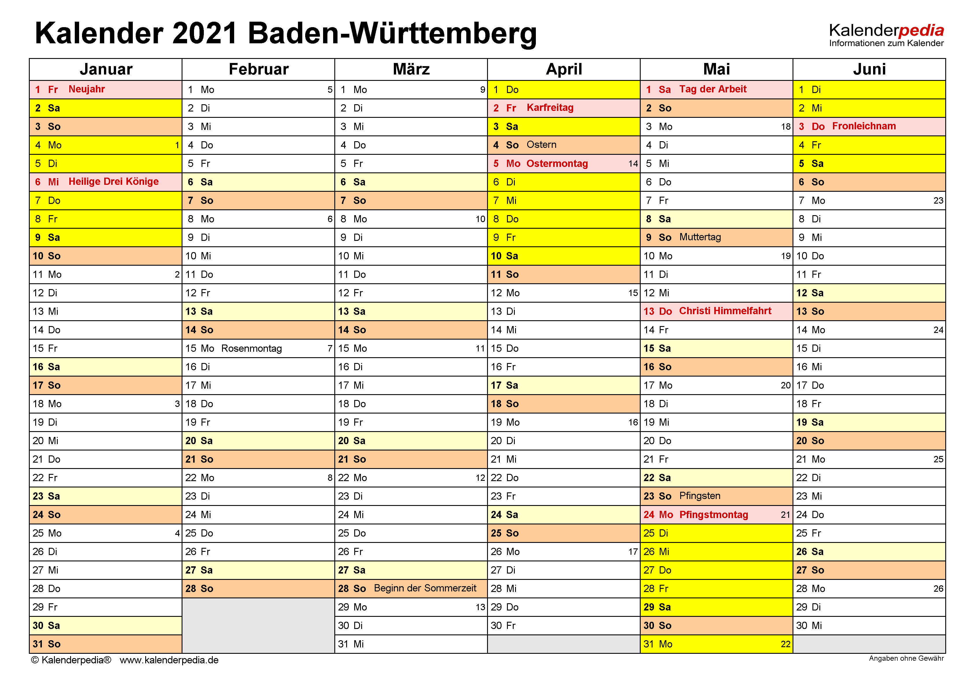 Kalender 2021 Baden-Württemberg: Ferien, Feiertage, Excel ...