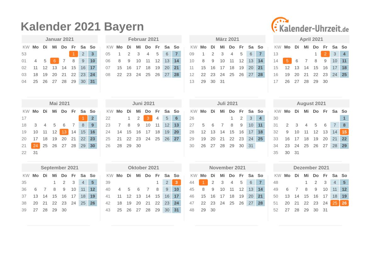 Feiertage 2021 Bayern Kalender
