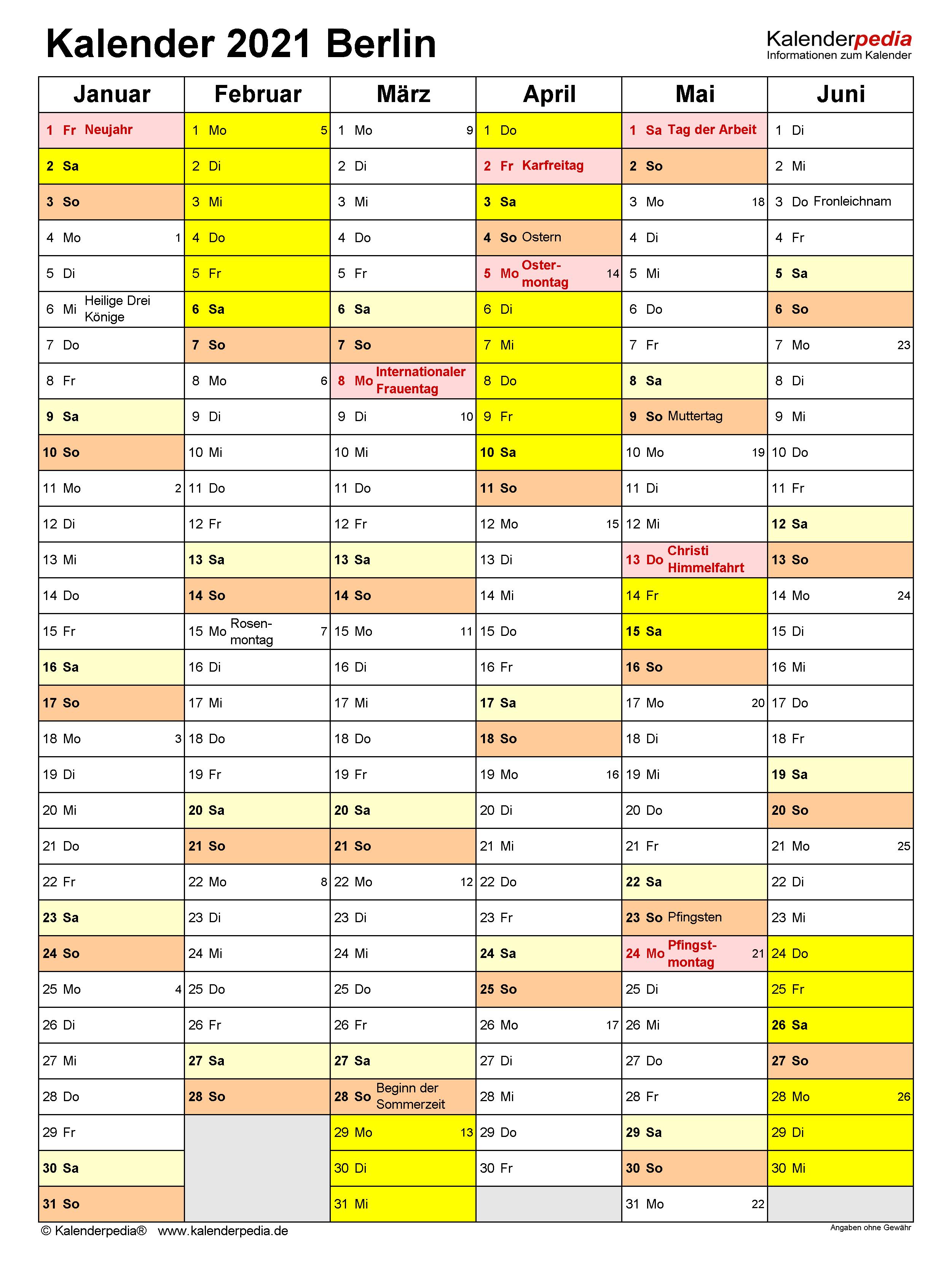 Kalender 2021 Berlin: Ferien, Feiertage, Excel-Vorlagen