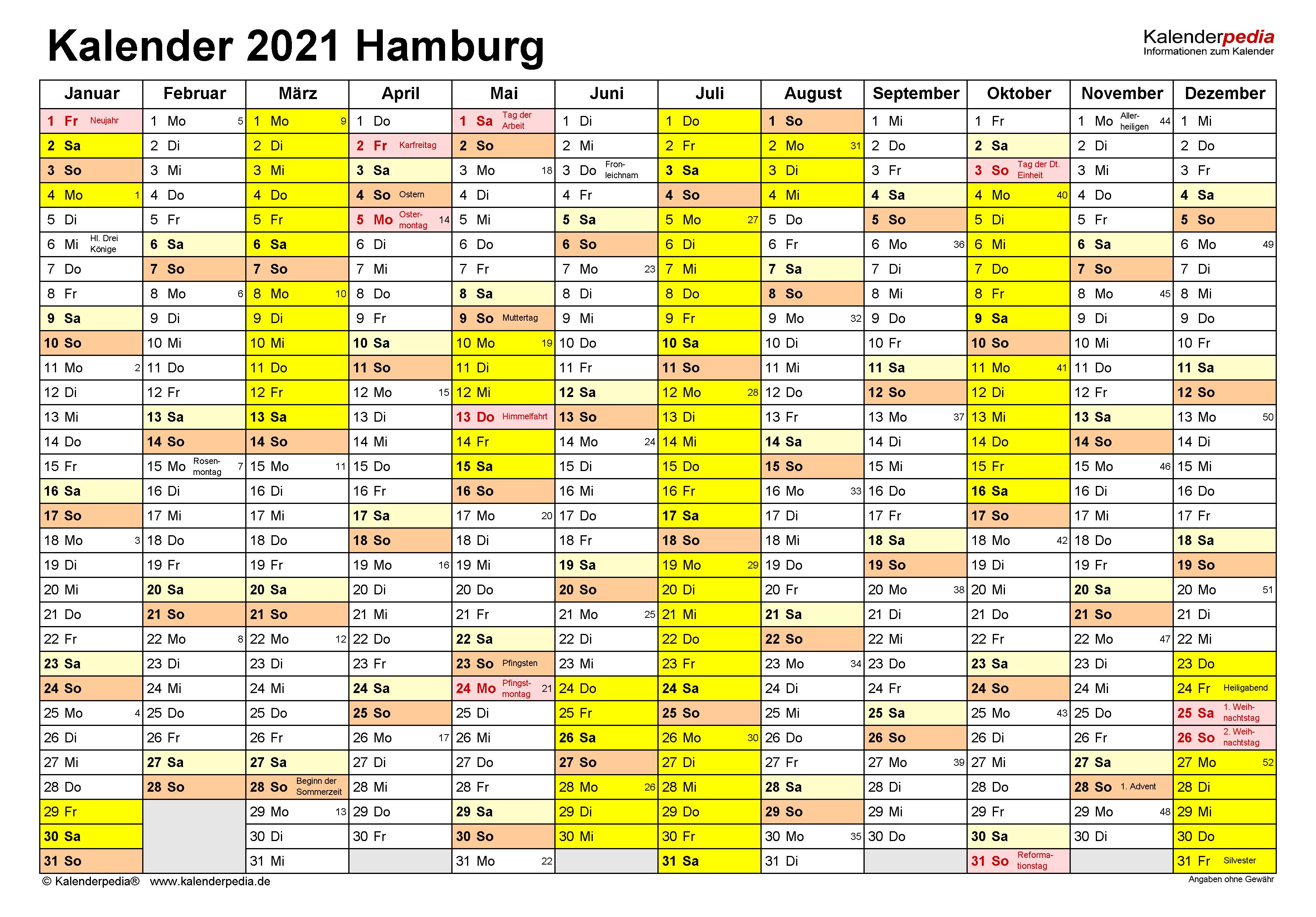 Kalender 2021 Hamburg: Ferien, Feiertage, Excel-Vorlagen