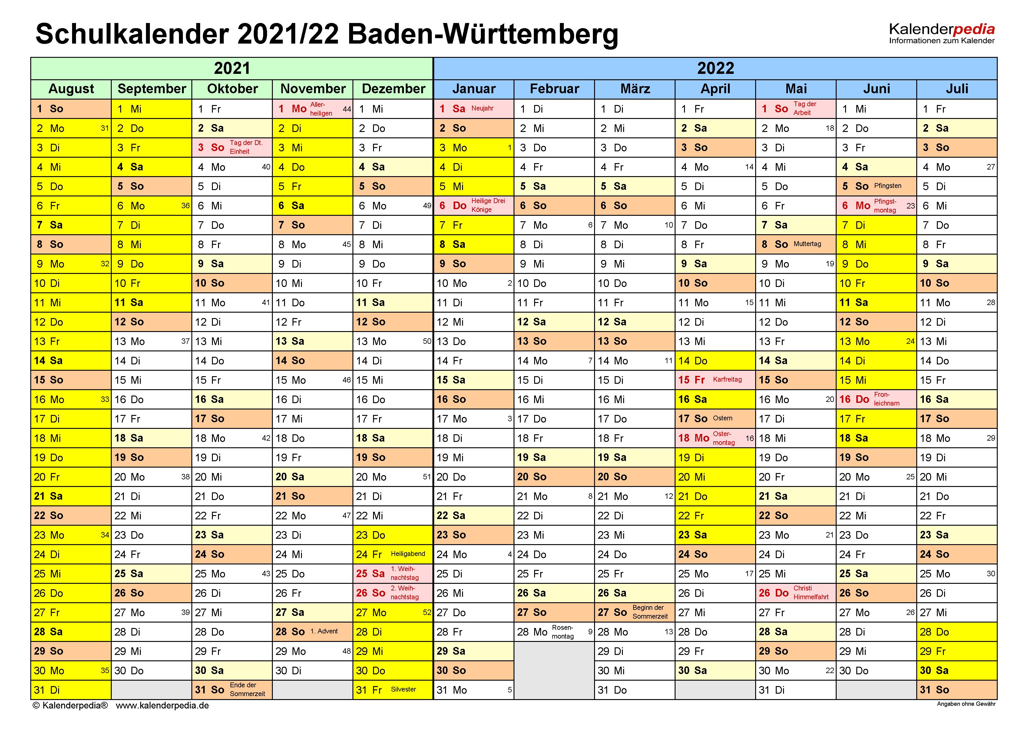 Ferien Bw 2021 Faschingsferien / FERIEN Baden-Württemberg ...