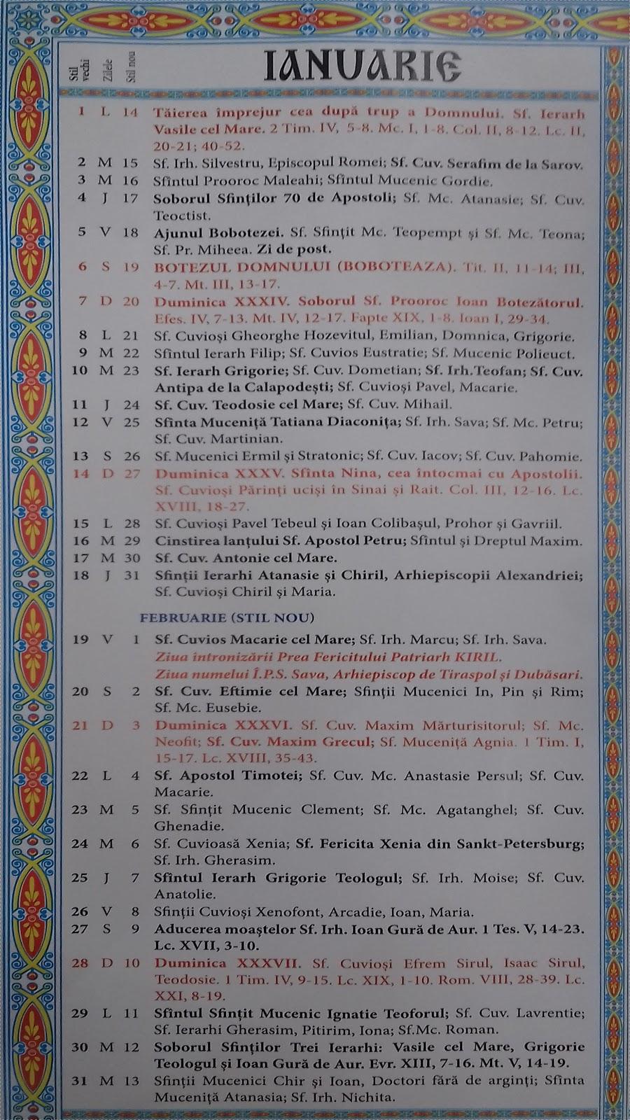 Calendar Crestin Ortodox 2019-2020 stil vechi Republica ...