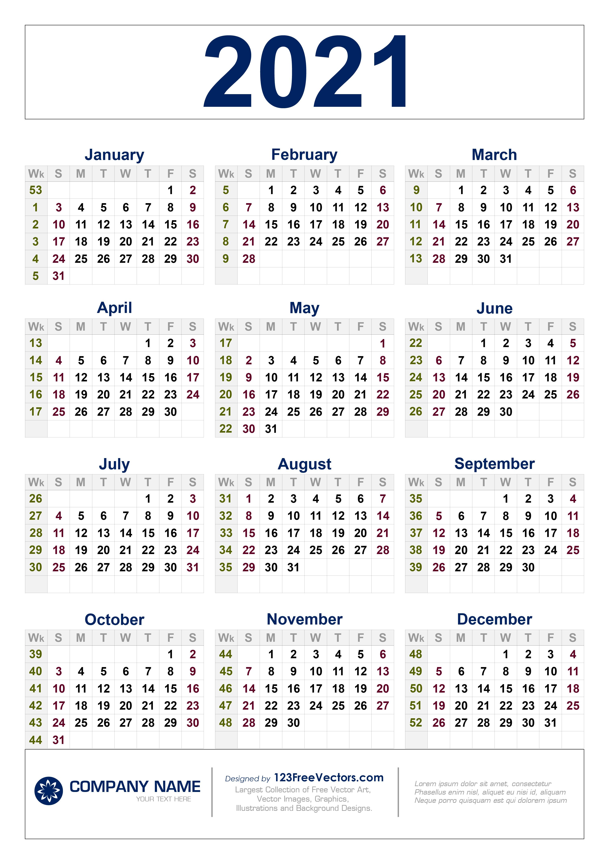 2021 Calendar With Week Number Printable Free / Week ...