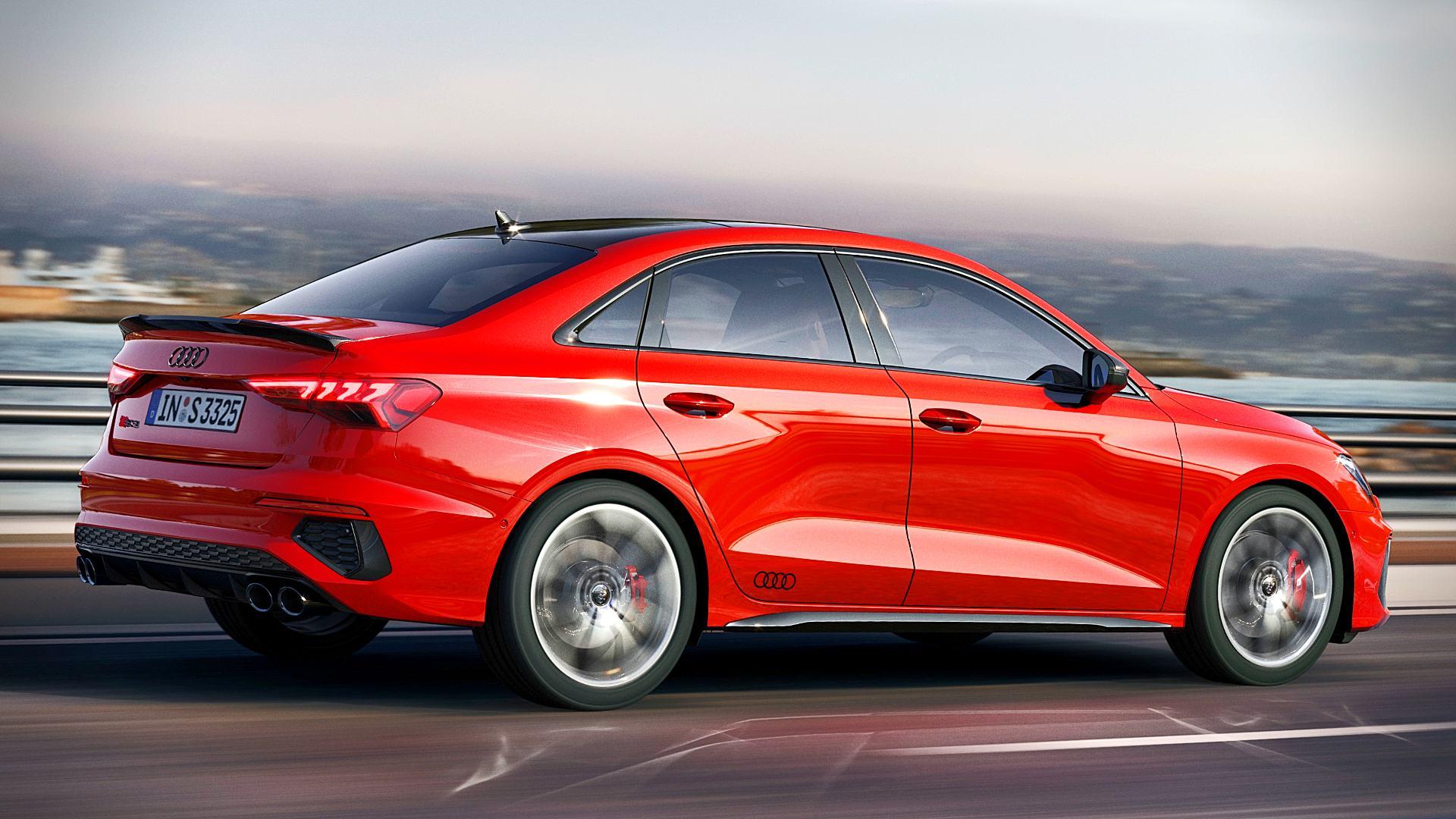 2021 Audi S3 Red Sedan Photos