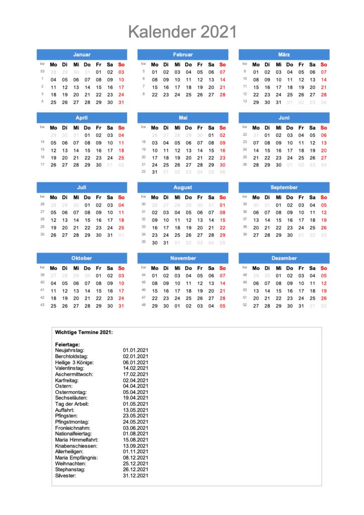 Jahreskalender 2021 - zum Ausdrucken - mit CH-Feiertagen ...