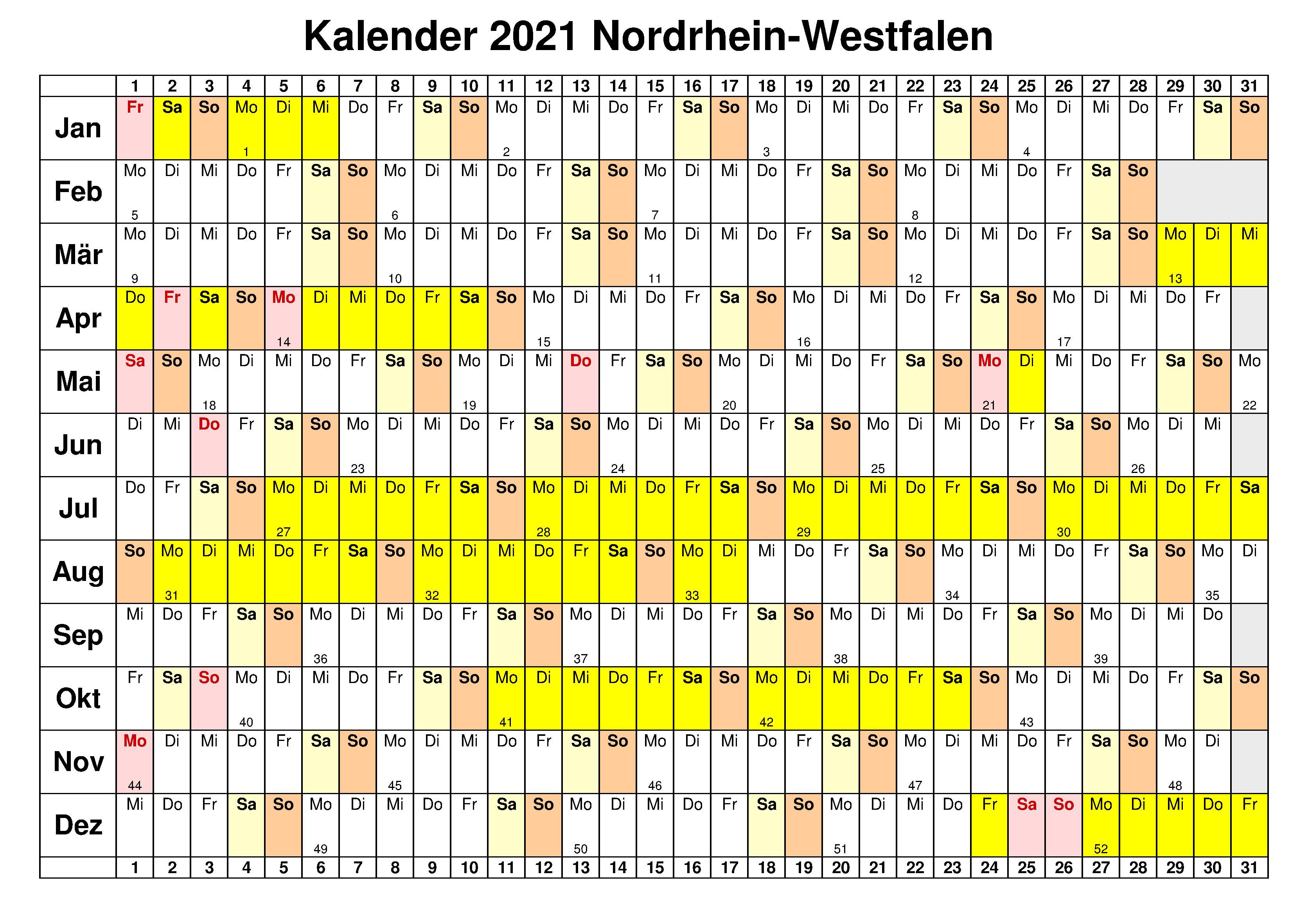 Kostenlos Jahreskalender 2021 NRW Zum Ausdrucken | The ...