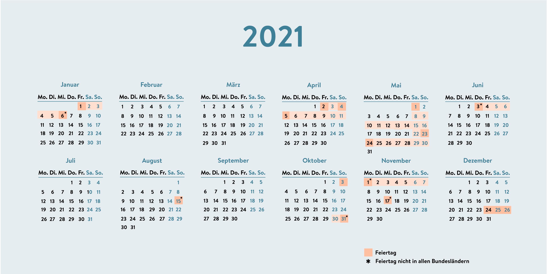 Kalender 2021 Brückentage 2021 Nrw Urlaub - Bruckentage ...