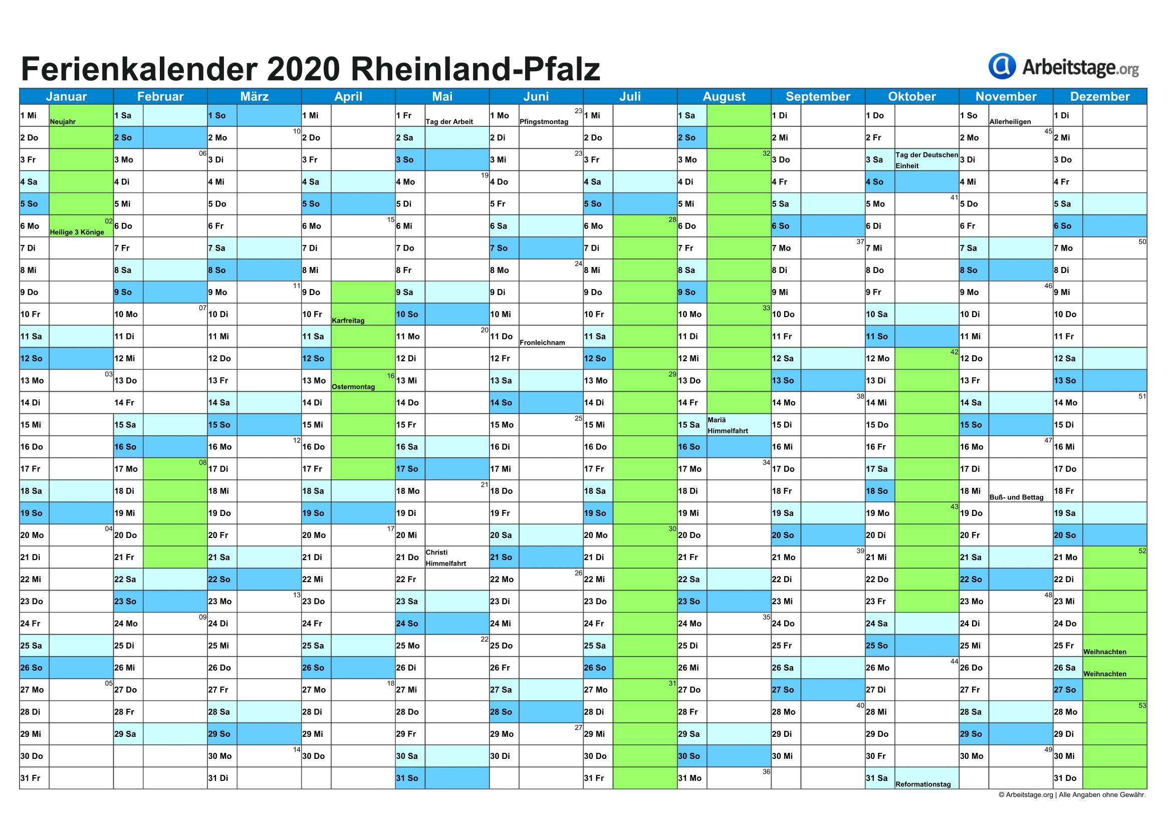 Ferien Rheinland-Pfalz 2020, 2021