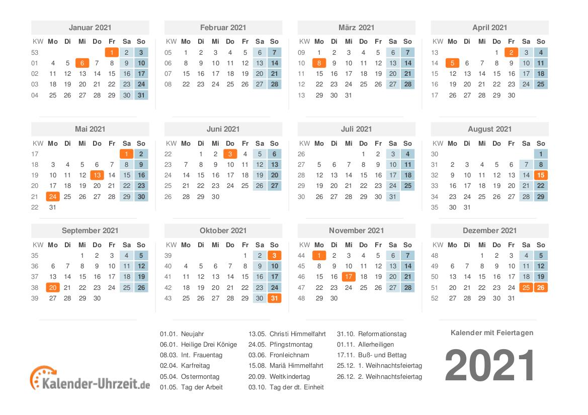 Kalenderpedia Pdf Jahreskalender 2021 Zum Ausdrucken ...