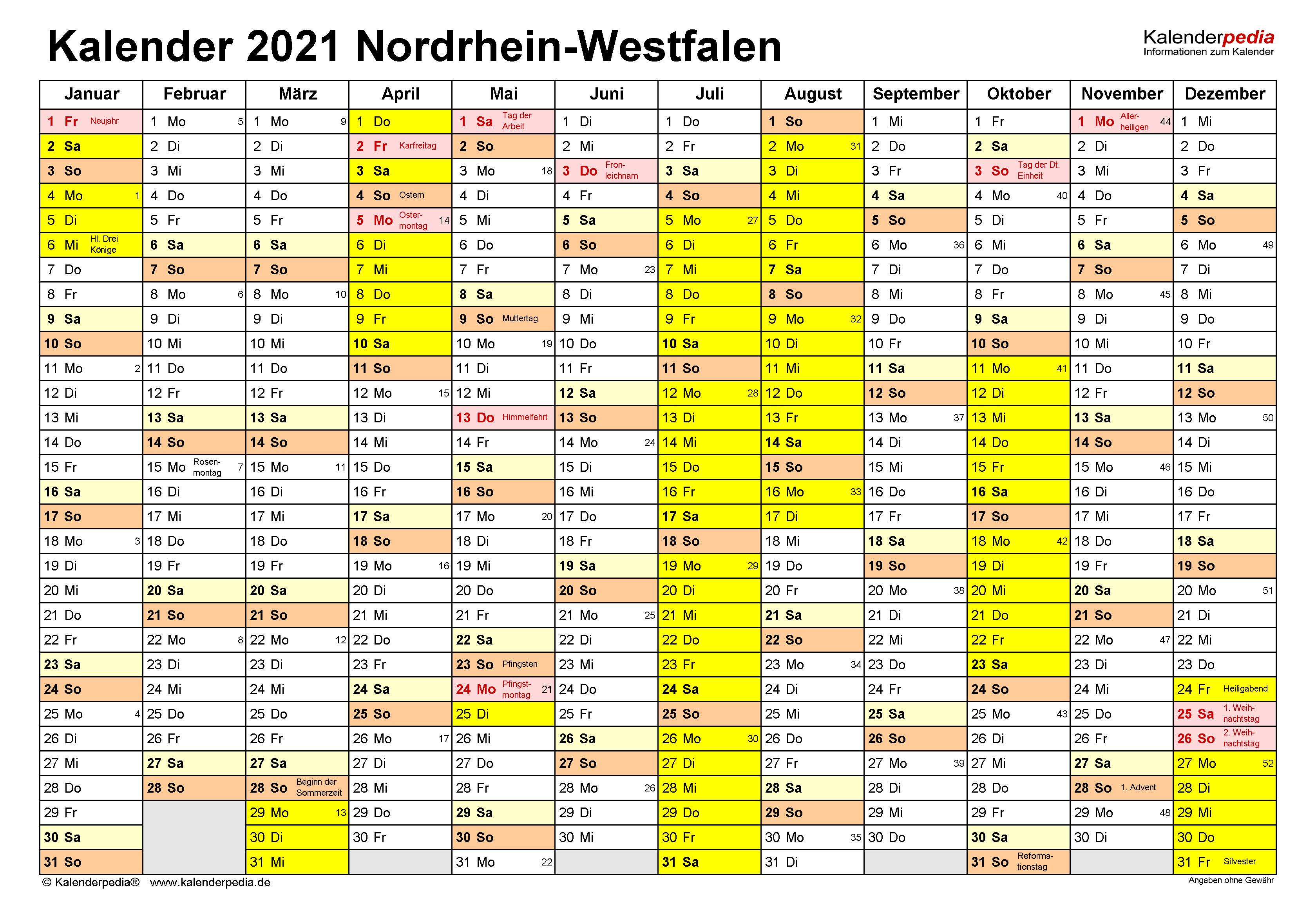 Kalender 2021 NRW: Ferien, Feiertage, Excel-Vorlagen