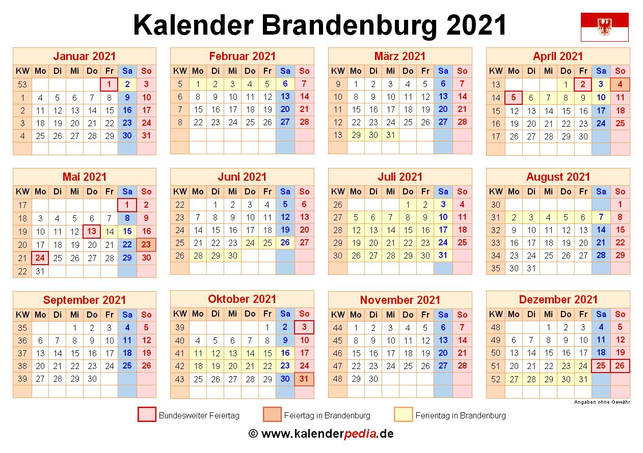 Kalender 2021 Brandenburg: Ferien, Feiertage, PDF-Vorlagen