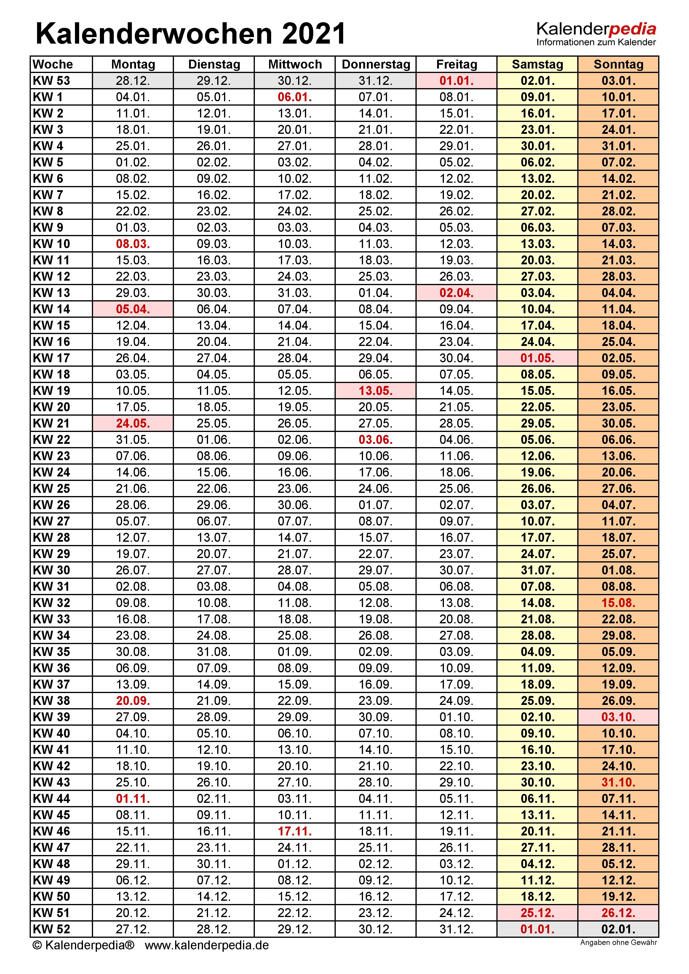 Kalenderwochen 2021 mit Vorlagen für Excel, Word & PDF