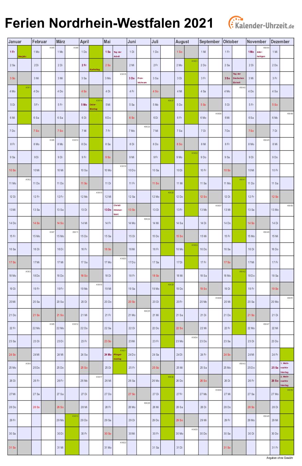Ferien Nordrhein-Westfalen 2021 - Ferienkalender zum ...