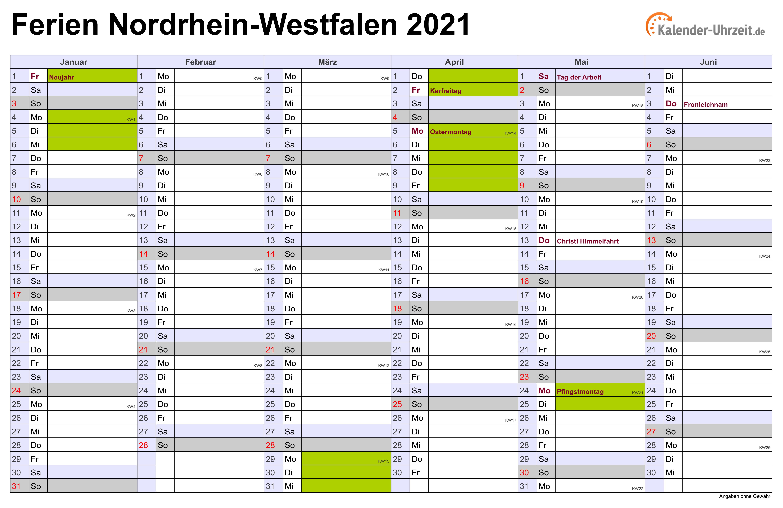 Kalender 2021 Nrw Zum Ausdrucken Mit Ferien : Deutsche ...