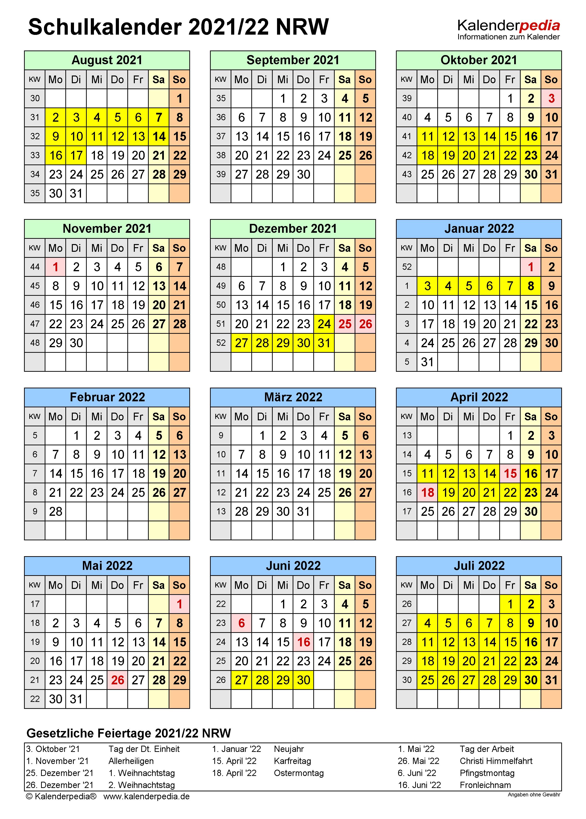 Kalenderblatt 2021 Mit Ferien Nrw : Ferien Rheinland Pfalz ...