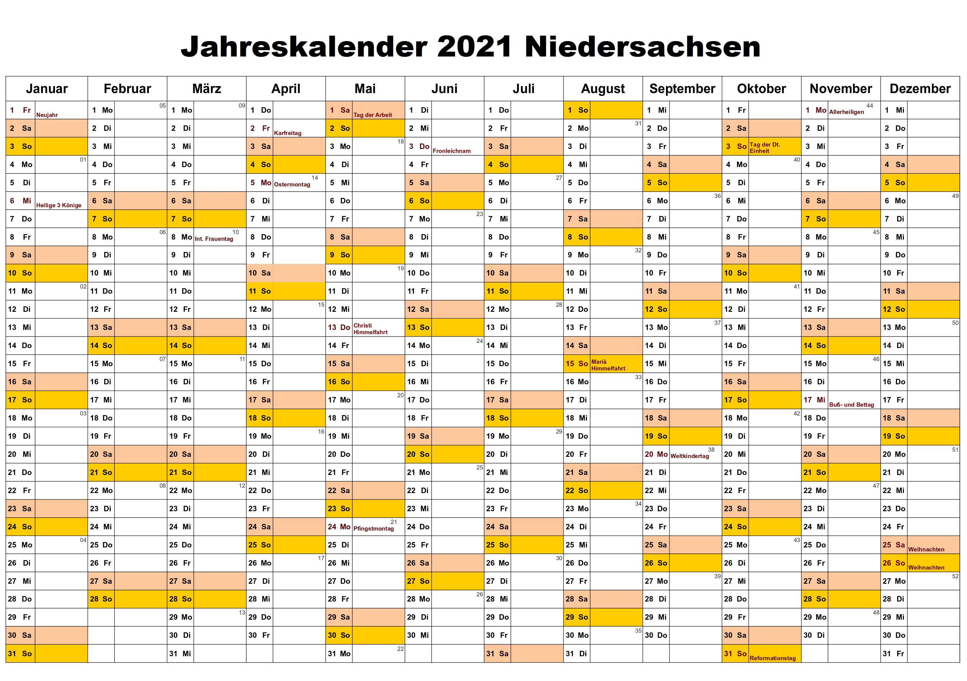Kostenlos Jahreskalender 2021 Niedersachsen Zum Ausdrucken ...