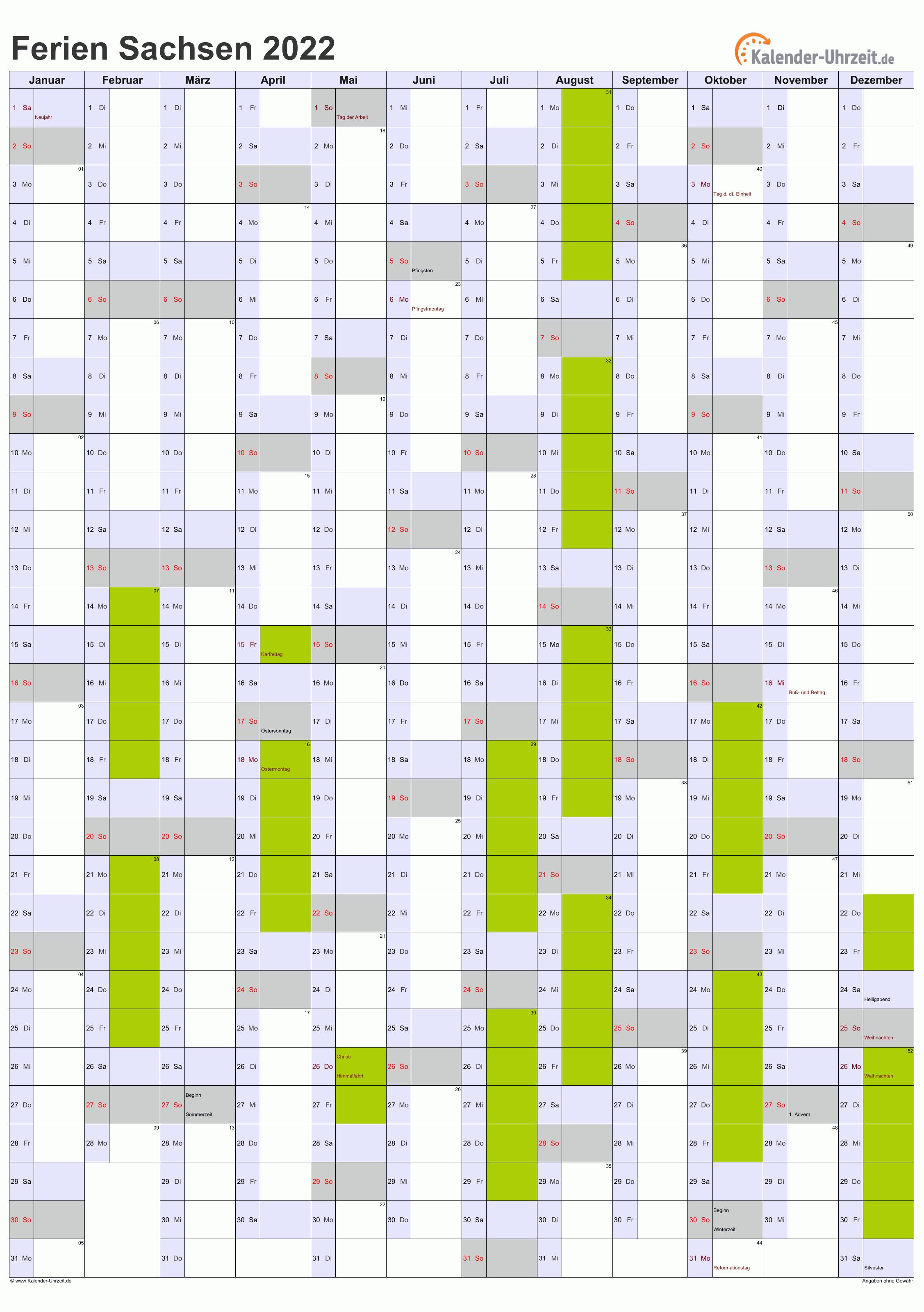 Ferien Sachsen 2022 - Ferienkalender zum Ausdrucken